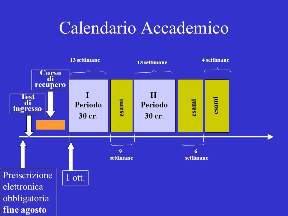 Calendario Accademico I Periodo 30 cr. II Periodo 30 cr.