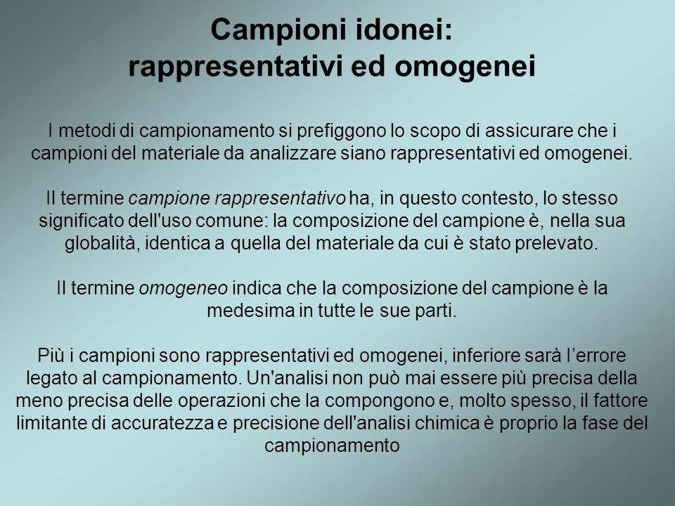 Campioni idonei: rappresentativi ed omogenei I metodi di campionamento si prefiggono lo scopo di assicurare che i campioni del materiale da analizzare