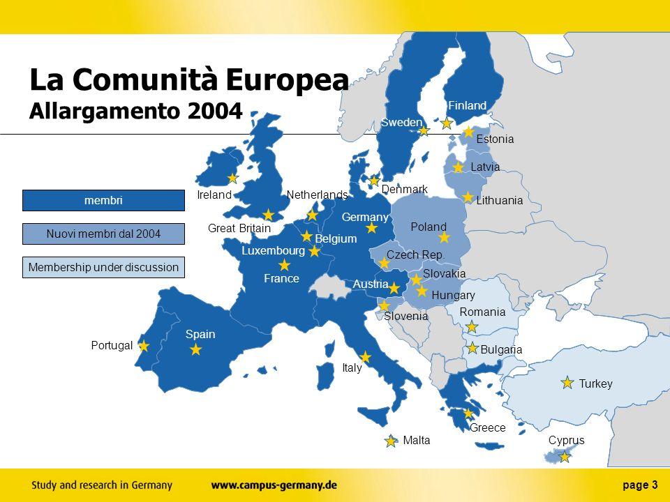 page 3 membri Nuovi membri dal 2004 Membership under discussion La Comunità Europea Allargamento 2004 Belgium Czech Rep.
