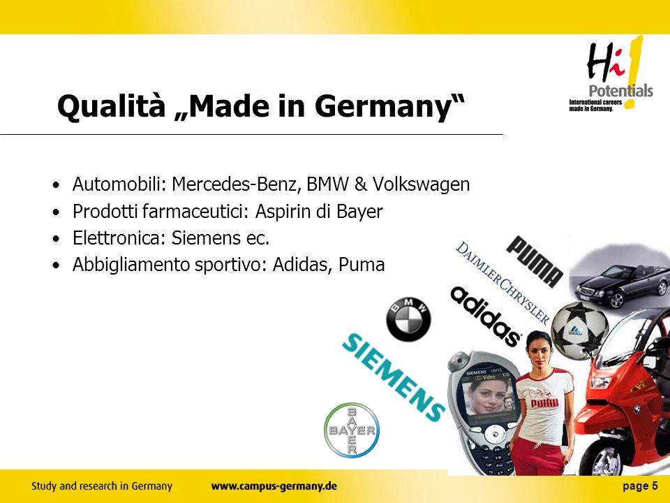 page 5 Automobili: Mercedes-Benz, BMW & Volkswagen Prodotti farmaceutici: Aspirin di Bayer Elettronica: Siemens ec.