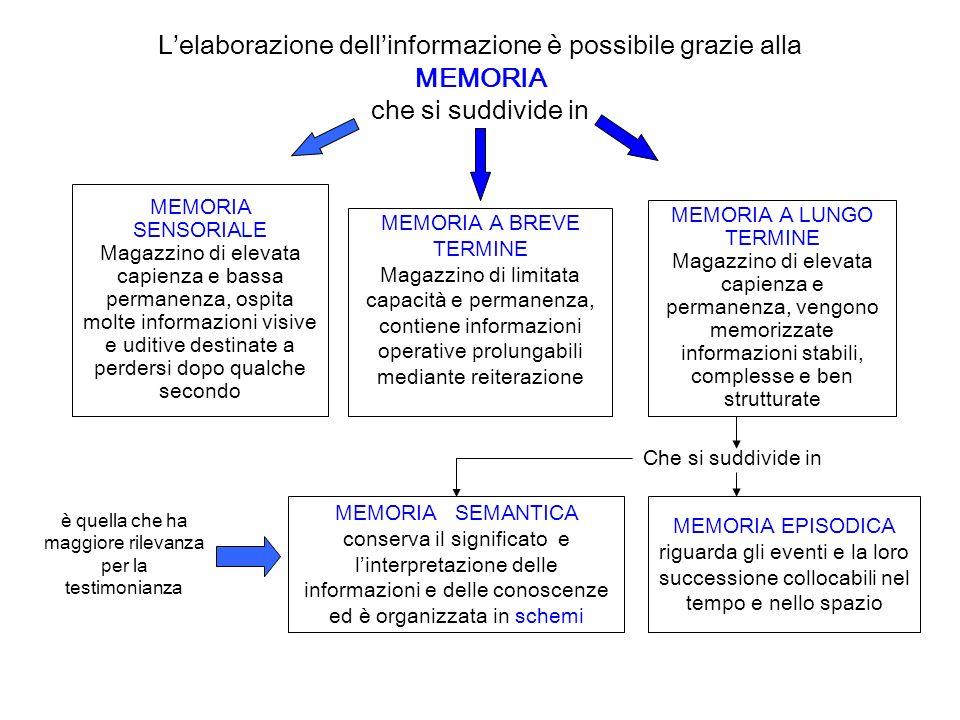 Lelaborazione dellinformazione è possibile grazie alla MEMORIA che si suddivide in MEMORIA SENSORIALE Magazzino di elevata capienza e bassa permanenza