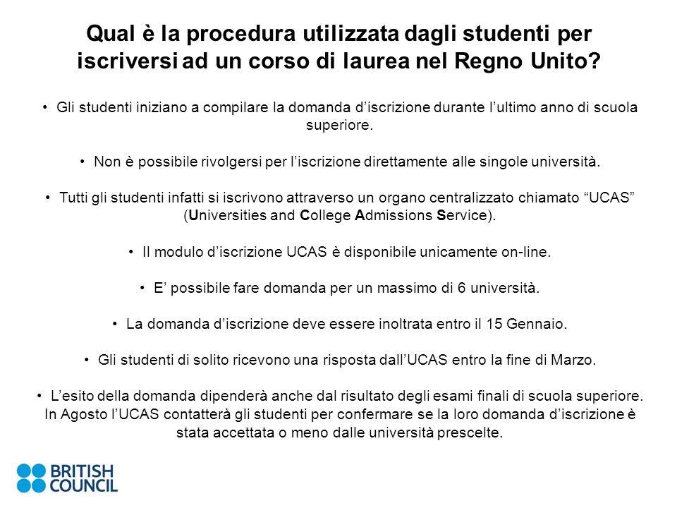 Qual è la procedura utilizzata dagli studenti per iscriversi ad un corso di laurea nel Regno Unito.