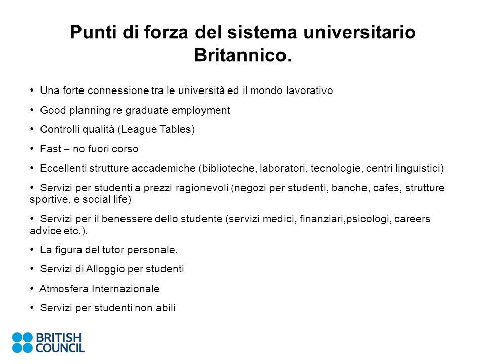 Punti di forza del sistema universitario Britannico.