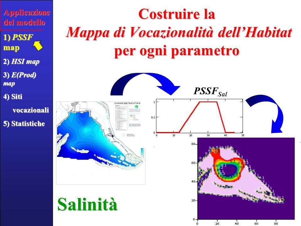 Applicazione del modello 1) PSSF map 2) HSI map 3) E(Prod) map 4) Siti vocazionali vocazionali 5) Statistiche Costruire la Mappa HSI calcolando la media geometrica pesata delle 6 PSSF p Mappa HSI dellarea lagunare