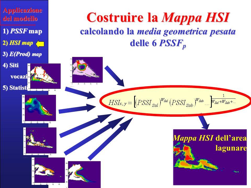 Associare la Produttività Attesa alla Mappa di Vocazionalità dellHabitat Mappa HSI Mappa di Prod.Attesa (in kg m -2 y -1 ) Applicazione del modello 1) PSSF map 2) HSI map 3) E(Prod) map 4) Siti vocazionali vocazionali 5) Statistiche.5.5