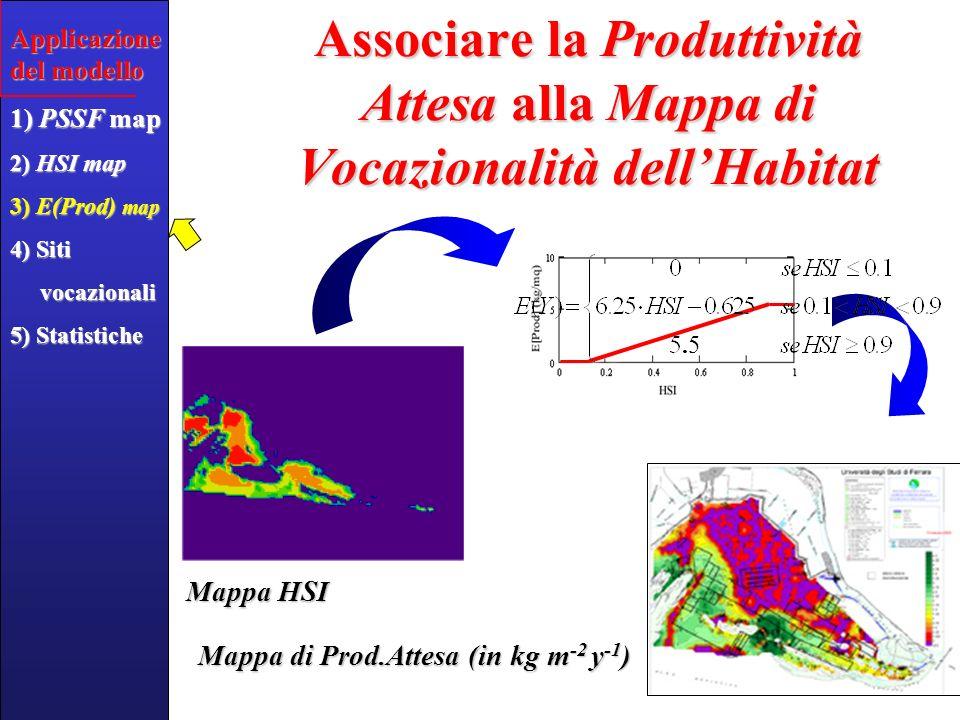 Identificare le Aree Vocazionali Applicazione del modello 1) PSSF map 2) HSI map 3) E(Prod) map 4) Siti vocazionali vocazionali 5) Statistiche