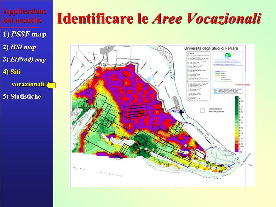 2 Ricavare indici vari di Produttività Attesa e sulle Aree Vocazionali Expected Yield (kg m -2 ) Commercial area (ha) Applicazione del modello 1) PSSF map 2) HSI map 3) E(Prod) map 4) Siti vocazionali vocazionali 5) Statistiche