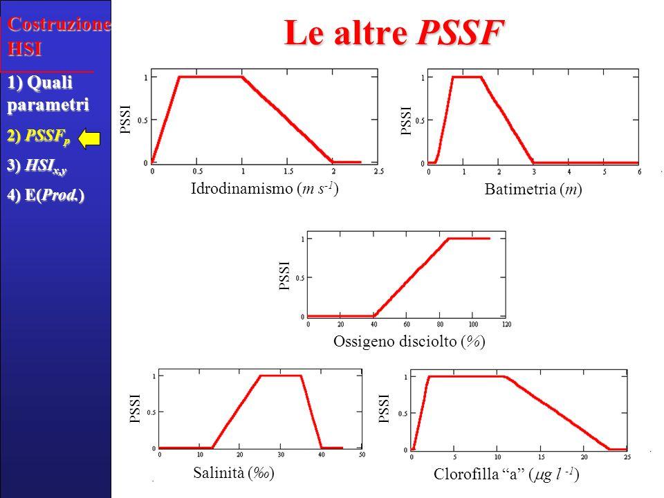 3 ° passaggio: Calcolare lIndice di Vocazionalità dellHabitat sito- specifico (HSI x,y ) come funzione di tutti i parametri HSI x,y = f(Salinità, Sedimento,…) Dove i pesi W Salt, W Sand, W Bat,… sono stati definiti con riferimento a Barillari et al.