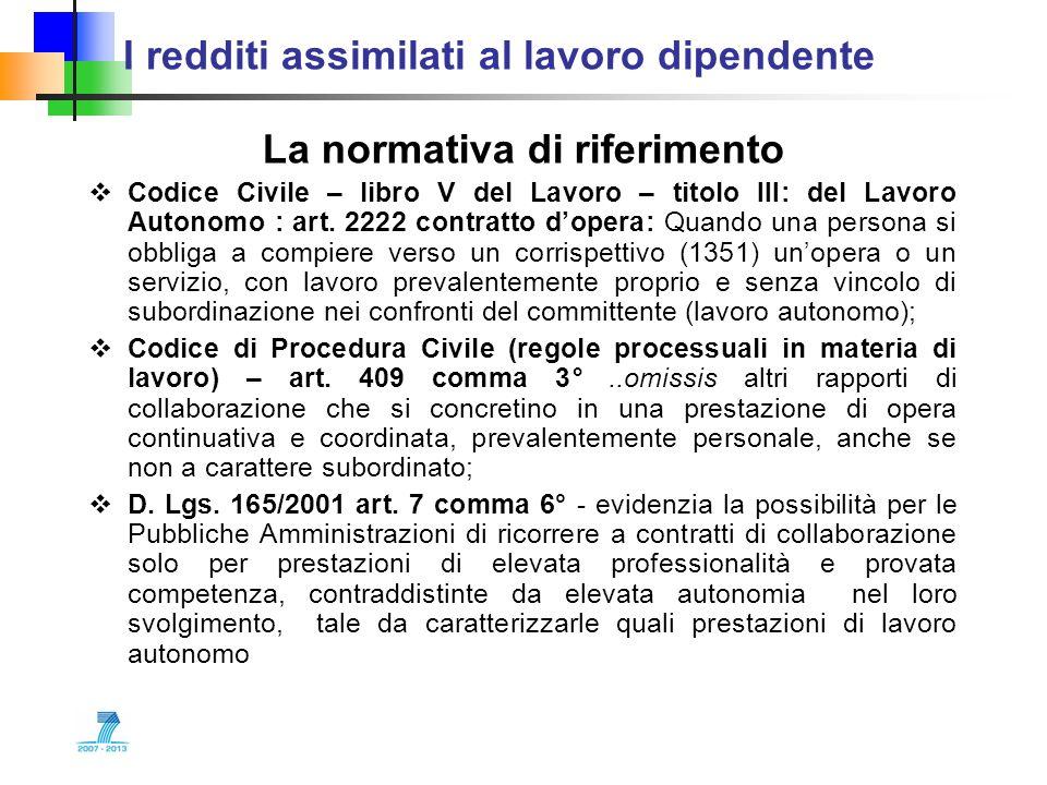 I redditi assimilati al lavoro dipendente La normativa di riferimento Codice Civile – libro V del Lavoro – titolo III: del Lavoro Autonomo : art. 2222