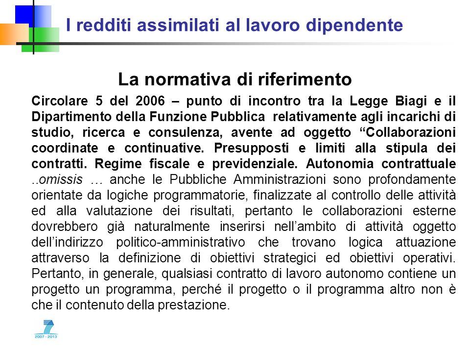 I redditi assimilati al lavoro dipendente La normativa di riferimento Circolare 5 del 2006 – punto di incontro tra la Legge Biagi e il Dipartimento de