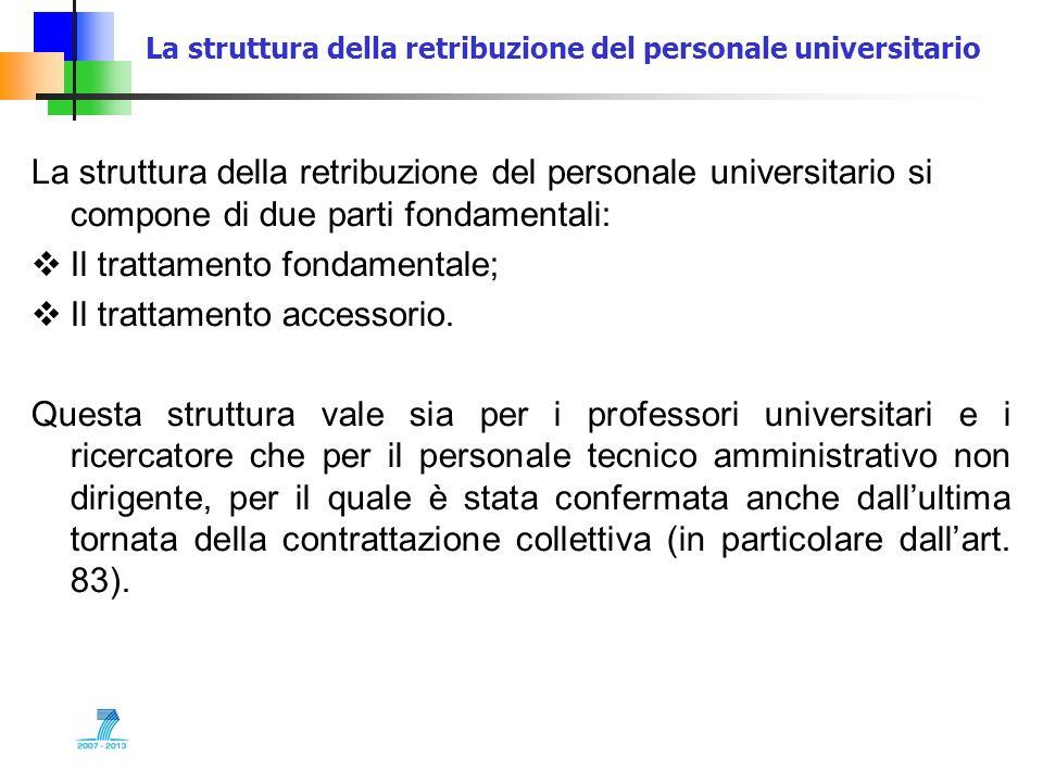 La struttura della retribuzione del personale universitario La struttura della retribuzione del personale universitario si compone di due parti fondam