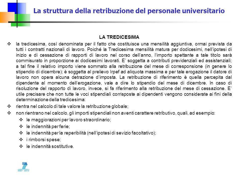 La struttura della retribuzione del personale universitario LA TREDICESIMA la tredicesima, così denominata per il fatto che costituisce una mensilità