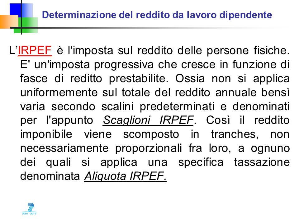 Determinazione del reddito da lavoro dipendente LIRPEF è l'imposta sul reddito delle persone fisiche. E' un'imposta progressiva che cresce in funzione