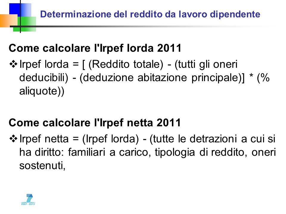 Come calcolare l'Irpef lorda 2011 Irpef lorda = [ (Reddito totale) - (tutti gli oneri deducibili) - (deduzione abitazione principale)] * (% aliquote))