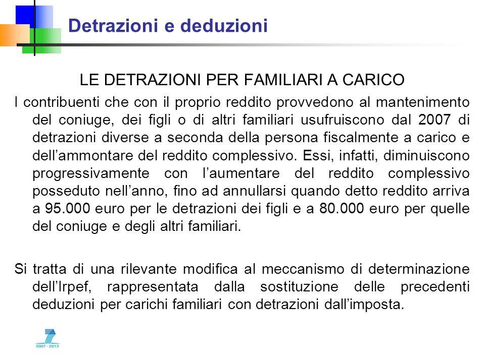 Detrazioni e deduzioni LE DETRAZIONI PER FAMILIARI A CARICO I contribuenti che con il proprio reddito provvedono al mantenimento del coniuge, dei figl