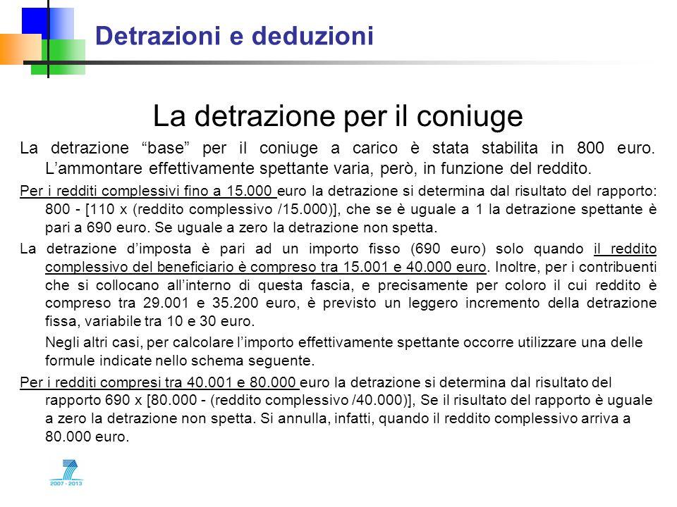 Detrazioni e deduzioni La detrazione per il coniuge La detrazione base per il coniuge a carico è stata stabilita in 800 euro. Lammontare effettivament