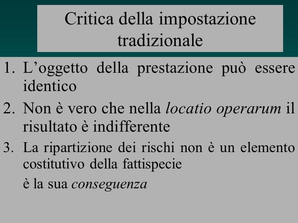 15 Leredità della tradizione romanistica Distinzione tra obbligazioni di mezzi (locatio operarum) e obbligazione di risultato (locatio operis) La diversa ripartizione dei rischi come dato essenziale della distinzione
