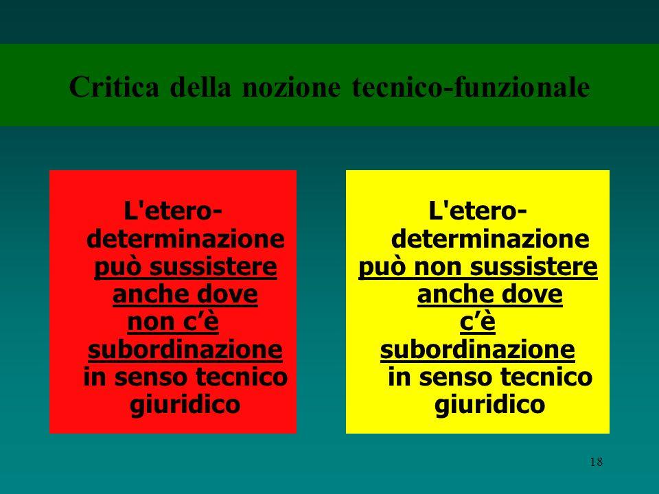17 La nozione tecnico-funzionale E fondata sulla valorizzazione dellelemento della eterodeterminazione si può considerare lavoratore subordinato qualu