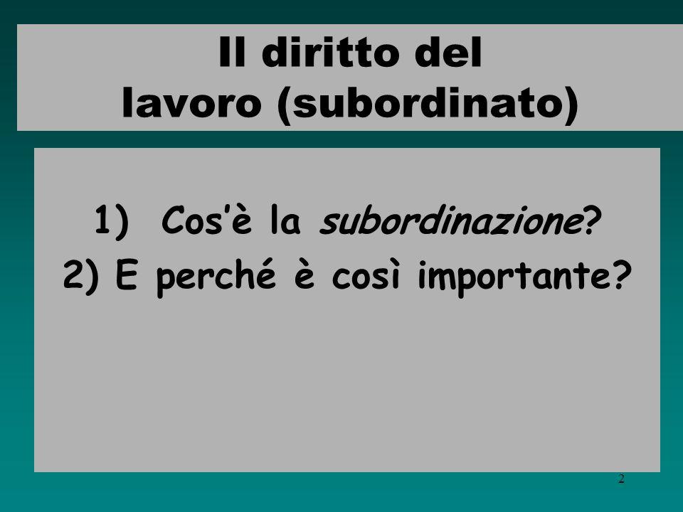 1 Diritto del lavoro - II - LA SUBORDINAZIONE