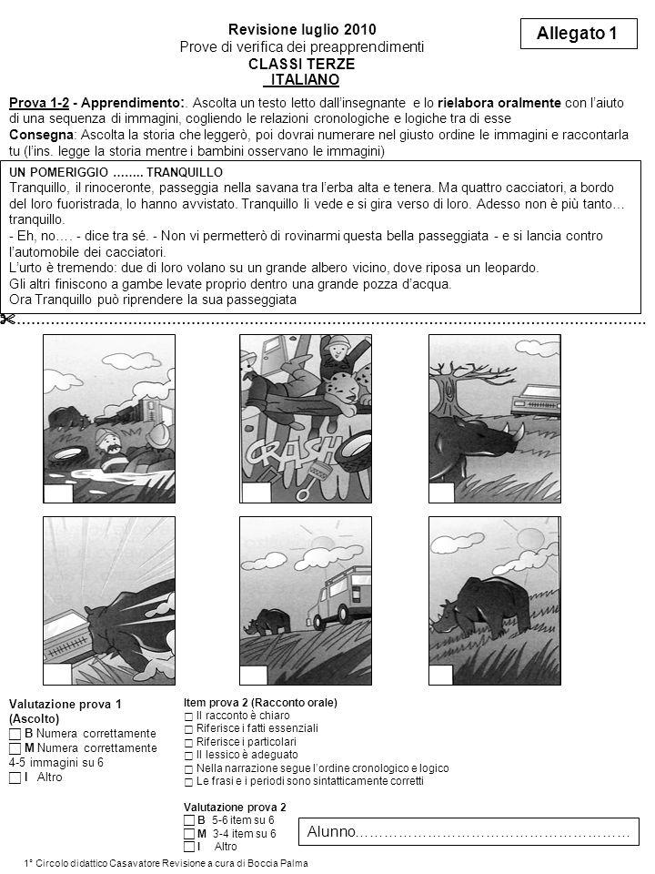 ITALIANO Revisione luglio 2010 Prove di verifica dei preapprendimenti CLASSI TERZE Allegato 1 Prova 1-2 - Apprendimento :.