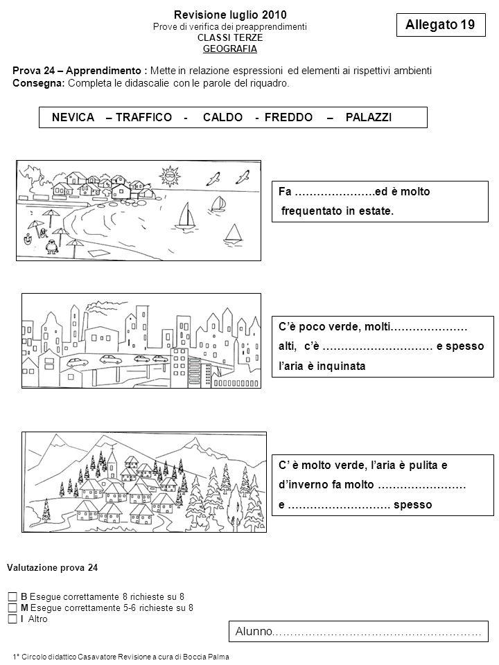 Revisione luglio 2010 Prove di verifica dei preapprendimenti CLASSI TERZE GEOGRAFIA Allegato 19 Prova 24 – Apprendimento : Mette in relazione espressioni ed elementi ai rispettivi ambienti Consegna: Completa le didascalie con le parole del riquadro.