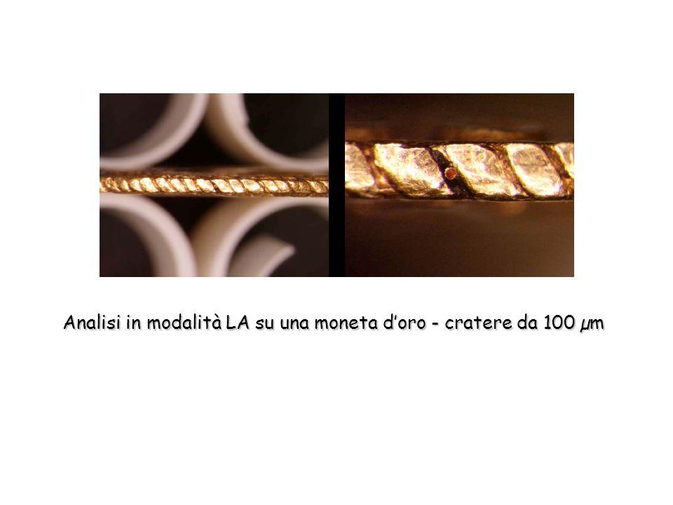 Analisi in modalità LA su una moneta doro - cratere da 100 µm