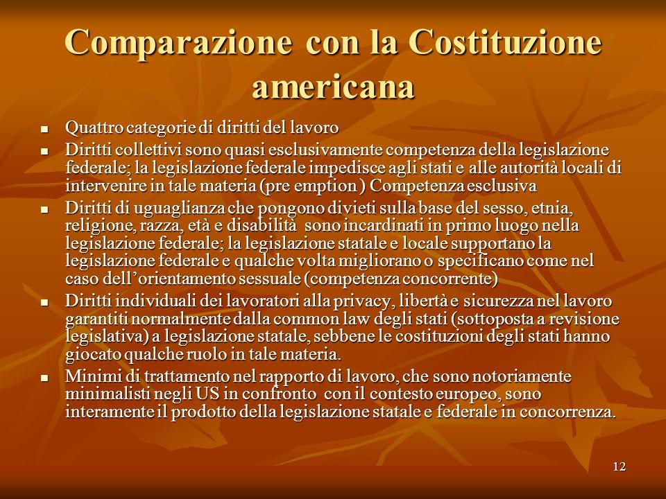 12 Comparazione con la Costituzione americana Quattro categorie di diritti del lavoro Quattro categorie di diritti del lavoro Diritti collettivi sono