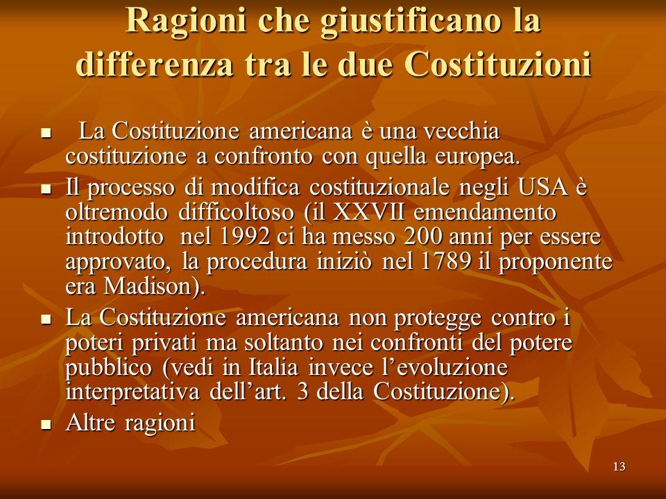 13 Ragioni che giustificano la differenza tra le due Costituzioni La Costituzione americana è una vecchia costituzione a confronto con quella europea.