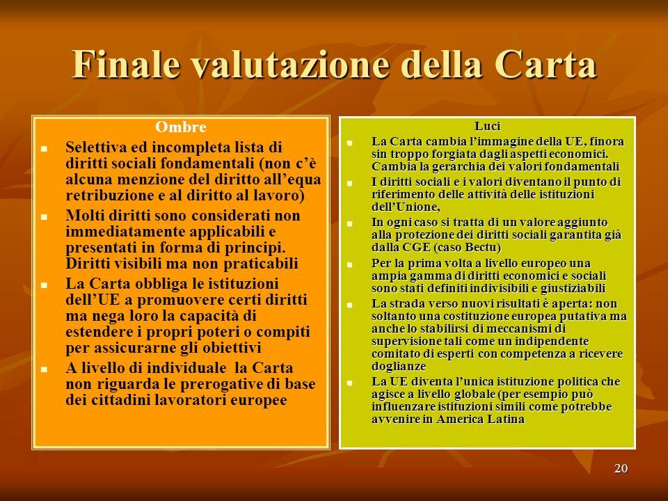 20 Finale valutazione della Carta Ombre Selettiva ed incompleta lista di diritti sociali fondamentali (non cè alcuna menzione del diritto allequa retr