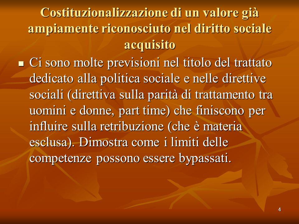 4 Costituzionalizzazione di un valore già ampiamente riconosciuto nel diritto sociale acquisito Ci sono molte previsioni nel titolo del trattato dedic