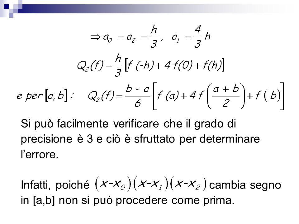 Si può facilmente verificare che il grado di precisione è 3 e ciò è sfruttato per determinare lerrore. Infatti, poiché cambia segno in [a,b] non si pu