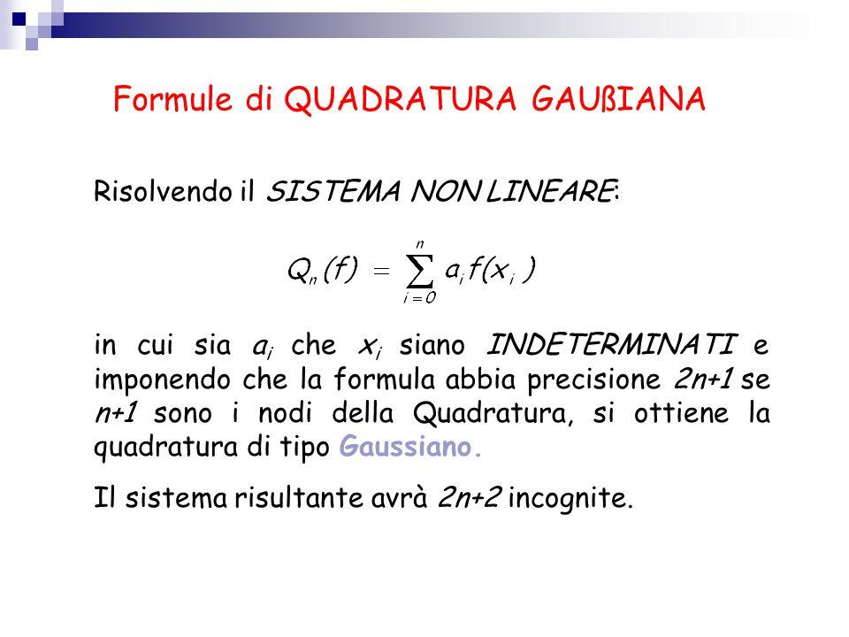 Formule di QUADRATURA GAUßIANA Risolvendo il SISTEMA NON LINEARE: in cui sia a i che x i siano INDETERMINATI e imponendo che la formula abbia precisio