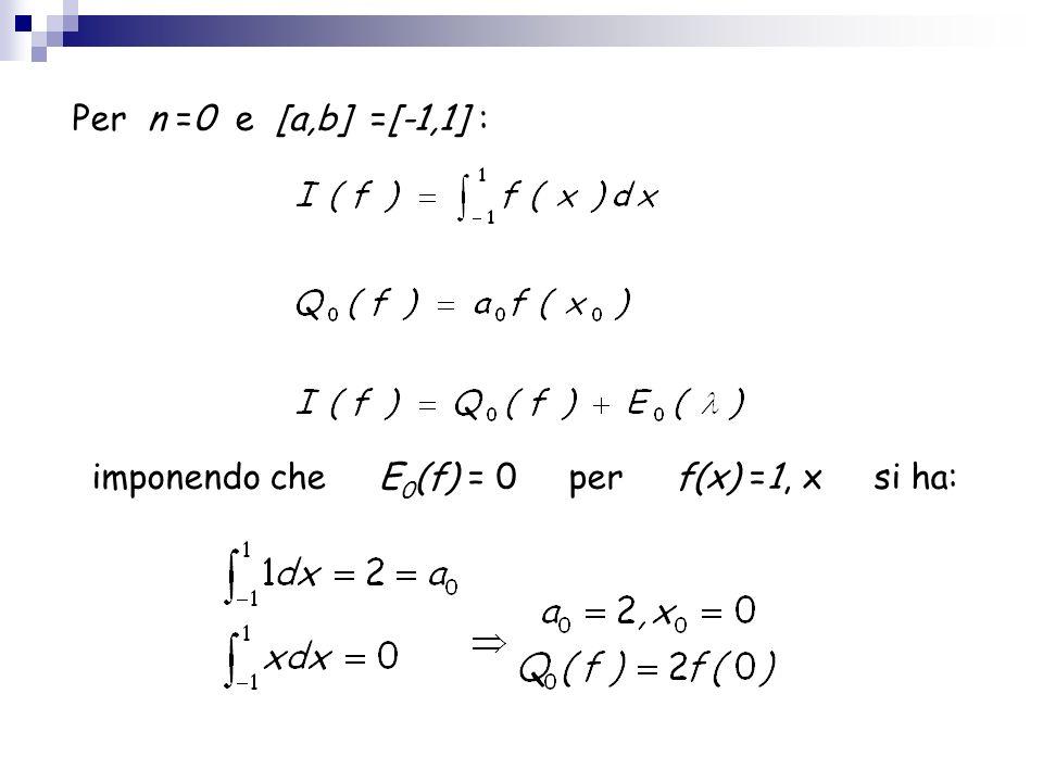 Per n =0 e [a,b] =[-1,1] : imponendo che E 0 (f) = 0 per f(x) =1, x si ha: