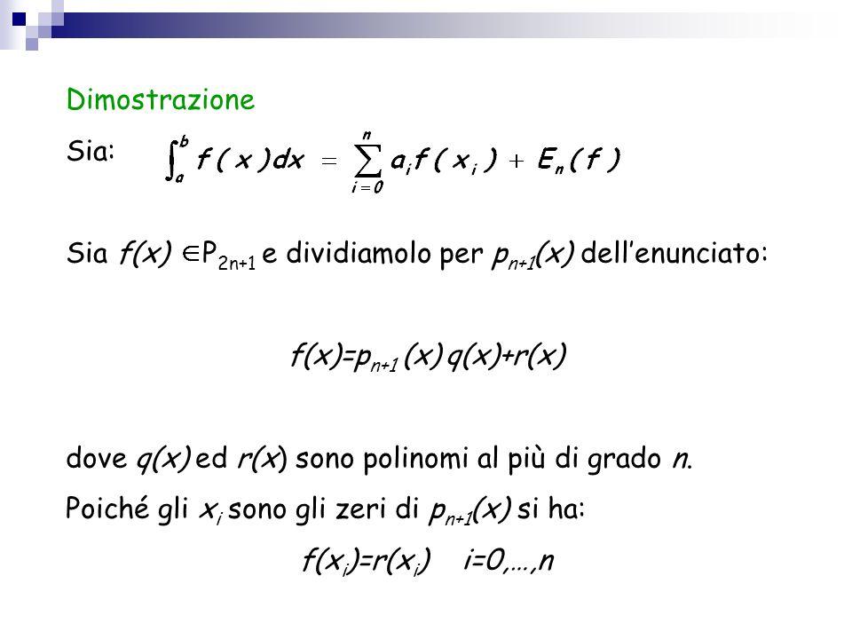 Dimostrazione Sia: Sia f(x) P 2n+1 e dividiamolo per p n+1 (x) dellenunciato: f(x)=p n+1 (x) q(x)+r(x) dove q(x) ed r(x) sono polinomi al più di grado