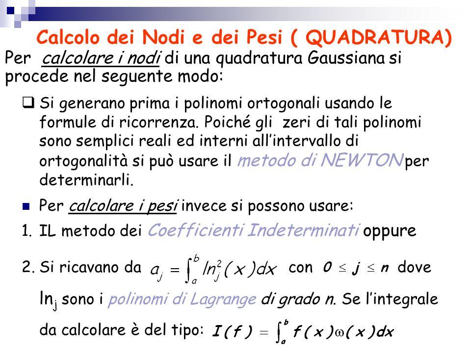 Calcolo dei Nodi e dei Pesi ( QUADRATURA) Per calcolare i nodi di una quadratura Gaussiana si procede nel seguente modo: Si generano prima i polinomi