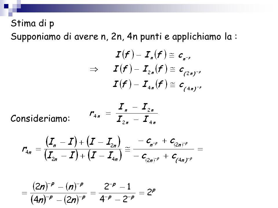 Stima di p Supponiamo di avere n, 2n, 4n punti e applichiamo la : Consideriamo: