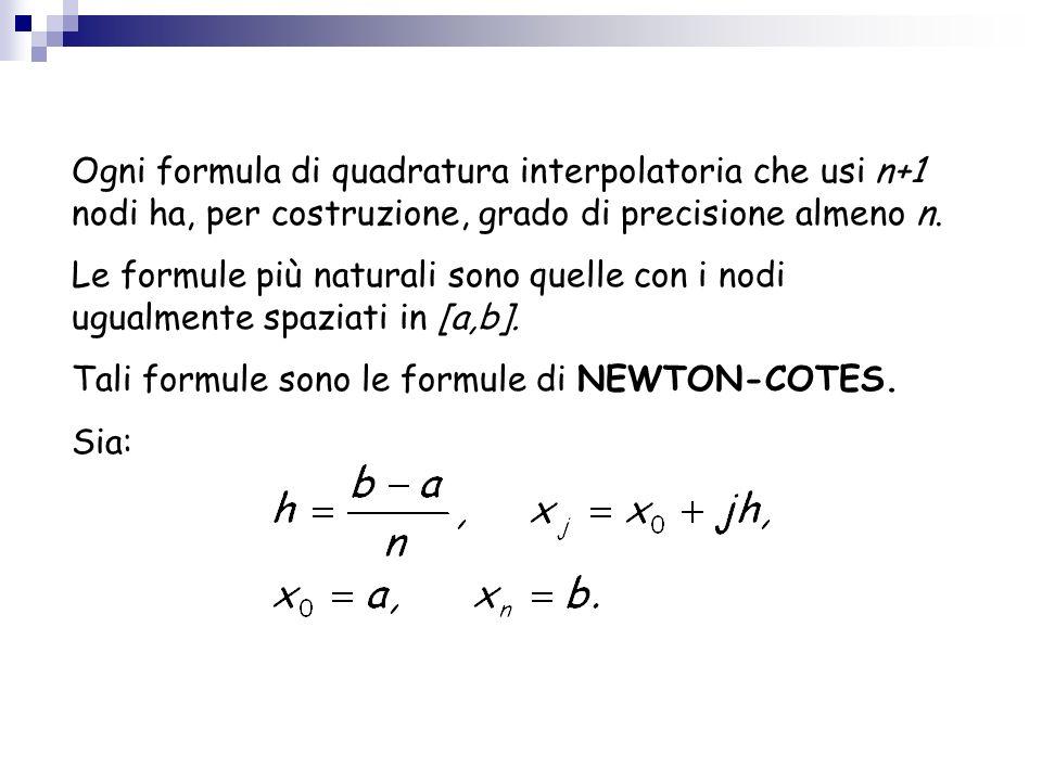 Ogni formula di quadratura interpolatoria che usi n+1 nodi ha, per costruzione, grado di precisione almeno n. Le formule più naturali sono quelle con