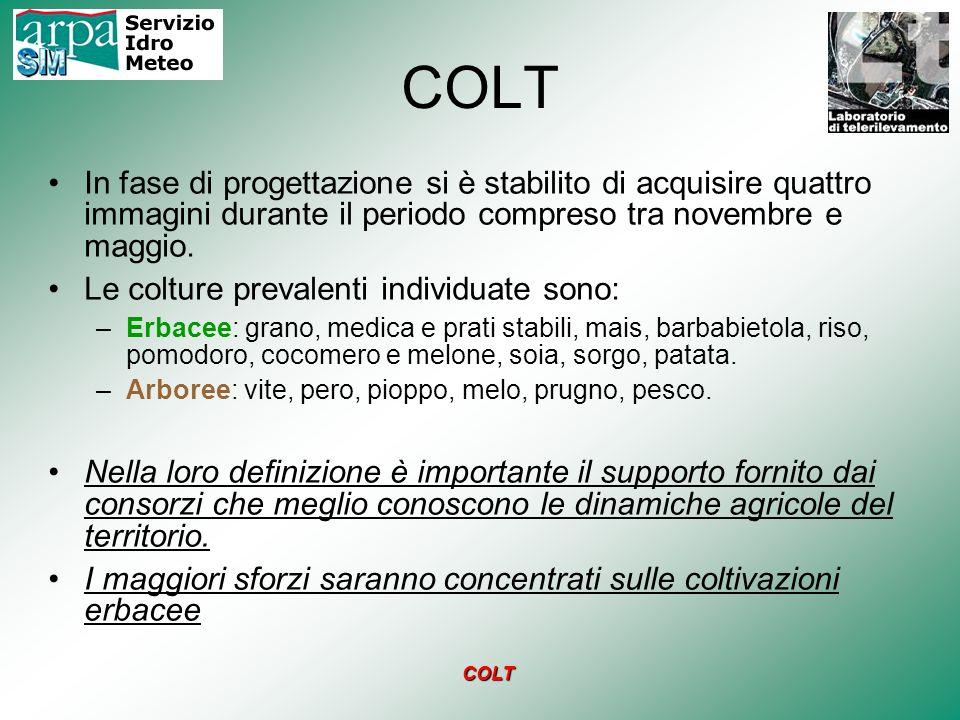 COLT In fase di progettazione si è stabilito di acquisire quattro immagini durante il periodo compreso tra novembre e maggio. Le colture prevalenti in