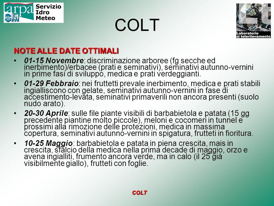 COLT METODOLOGIA Preparazione del database per la compilazione dei dati in campo su GPS.