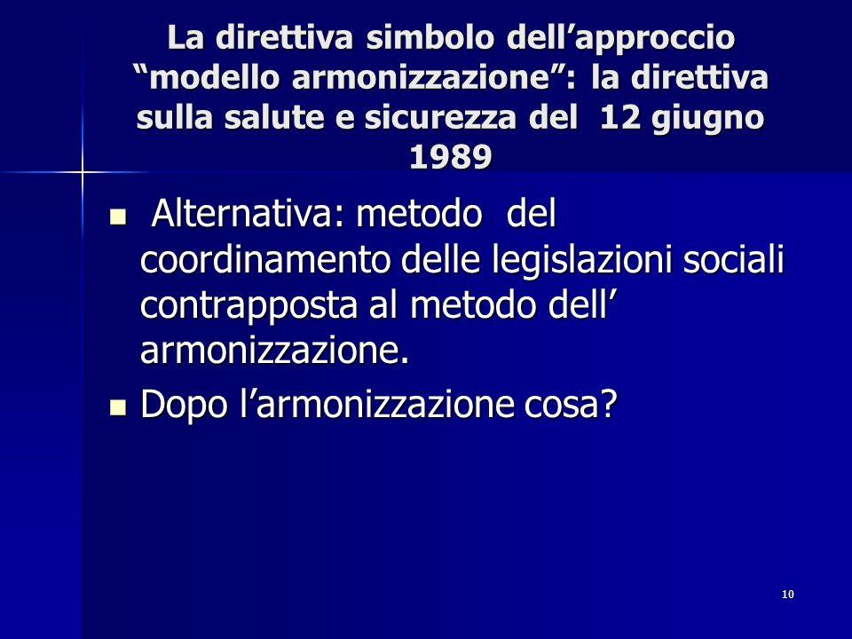 10 La direttiva simbolo dellapproccio modello armonizzazione: la direttiva sulla salute e sicurezza del 12 giugno 1989 Alternativa: metodo del coordin