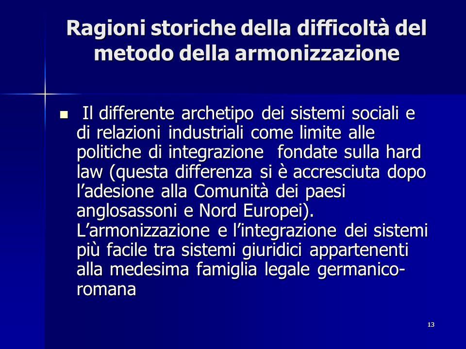 13 Ragioni storiche della difficoltà del metodo della armonizzazione Ragioni storiche della difficoltà del metodo della armonizzazione Il differente a