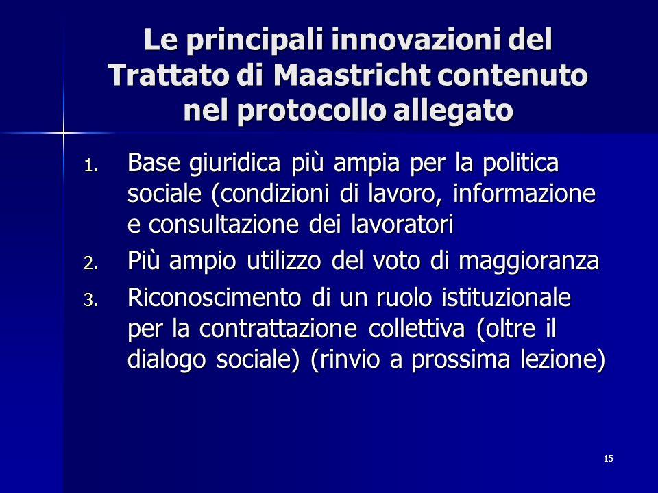15 Le principali innovazioni del Trattato di Maastricht contenuto nel protocollo allegato 1. Base giuridica più ampia per la politica sociale (condizi