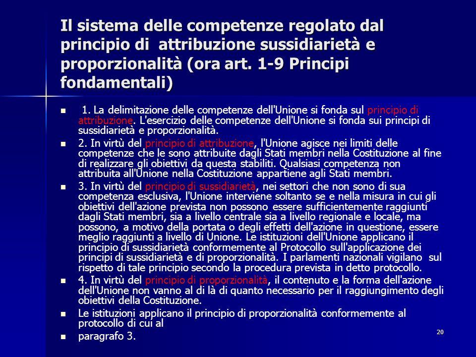 20 Il sistema delle competenze regolato dal principio di attribuzione sussidiarietà e proporzionalità (ora art. 1-9 Principi fondamentali) 1. La delim