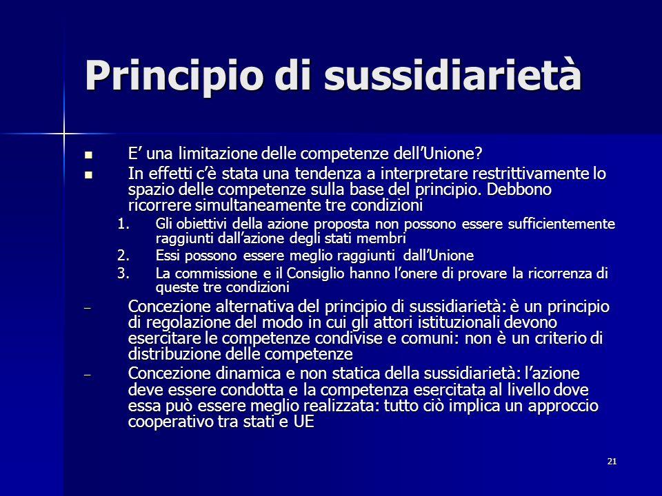 21 Principio di sussidiarietà E una limitazione delle competenze dellUnione? E una limitazione delle competenze dellUnione? In effetti cè stata una te