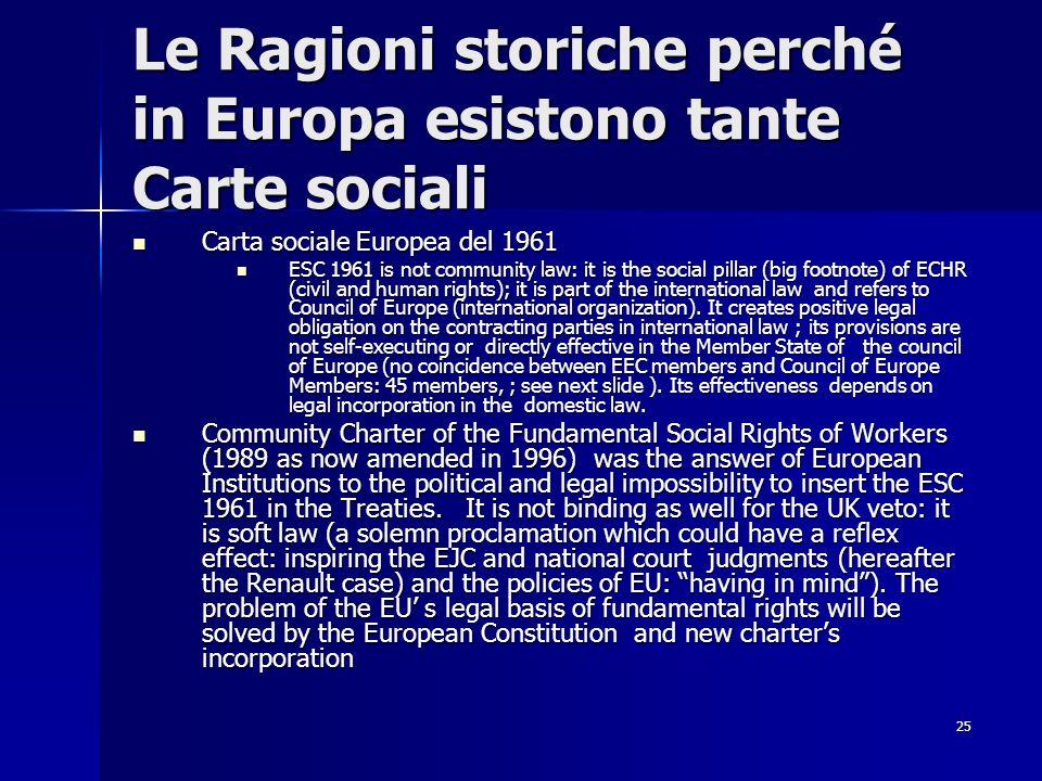 25 Le Ragioni storiche perché in Europa esistono tante Carte sociali Carta sociale Europea del 1961 Carta sociale Europea del 1961 ESC 1961 is not com