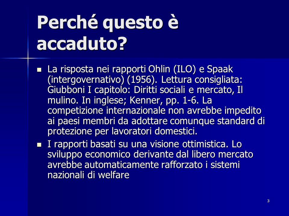 3 Perché questo è accaduto? La risposta nei rapporti Ohlin (ILO) e Spaak (intergovernativo) (1956). Lettura consigliata: Giubboni I capitolo: Diritti