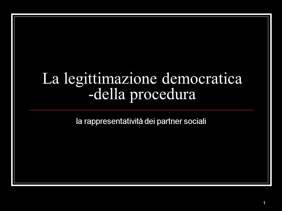1 La legittimazione democratica -della procedura la rappresentatività dei partner sociali