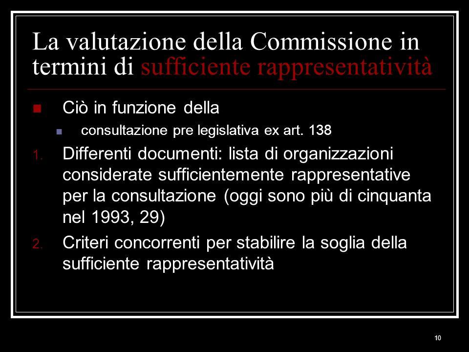 10 La valutazione della Commissione in termini di sufficiente rappresentatività Ciò in funzione della consultazione pre legislativa ex art. 138 1. Dif