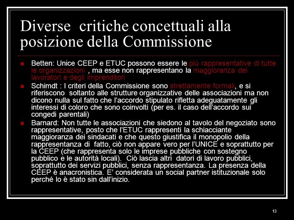13 Diverse critiche concettuali alla posizione della Commissione Betten: Unice CEEP e ETUC possono essere le più rappresentative di tutte le organizza