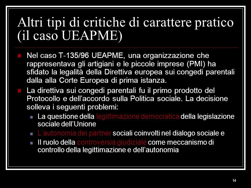 14 Altri tipi di critiche di carattere pratico (il caso UEAPME) Nel caso T-135/96 UEAPME, una organizzazione che rappresentava gli artigiani e le picc